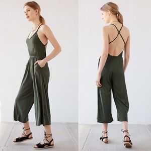 NWT UO Silence + Noise Green Culotte Crop Jumpsuit